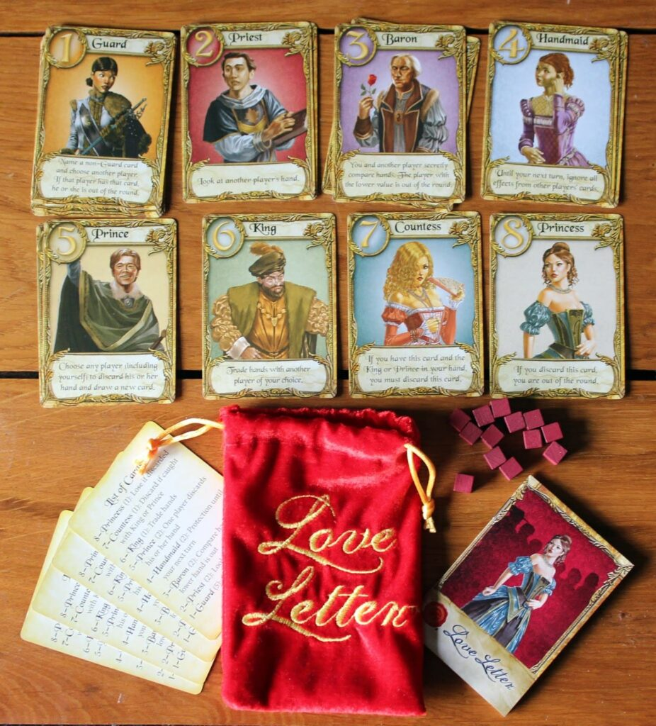 Love Letter juego de cartas componentes