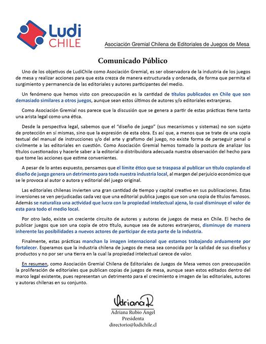 Comunicado Ludi Chile plagio