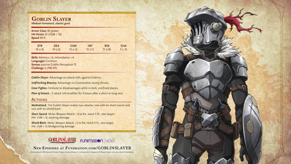 Goblin Slayer hoja de personaje Dungeons and Dragons rol