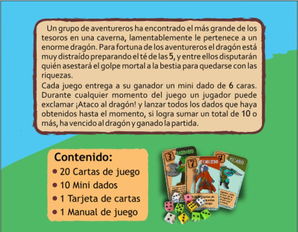 Contraportada caja Ataco al Dragón juego de mesa