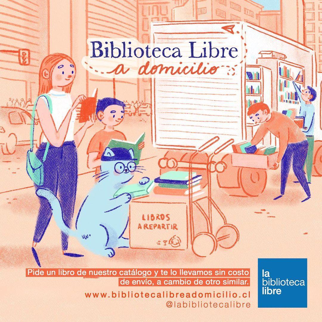 Biblioteca a Domicilio ilustración publicidad